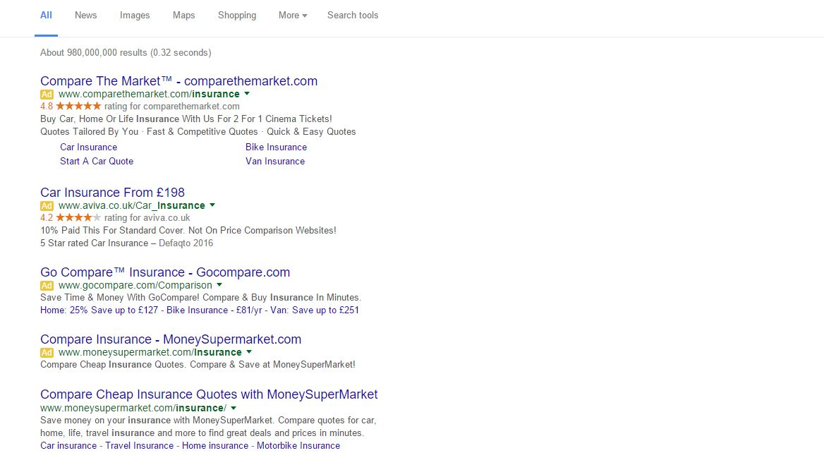 Screen shot of Google search engine result for car insurance