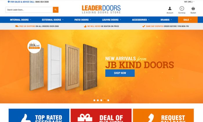 Website home page with blue and orange design, selling doors