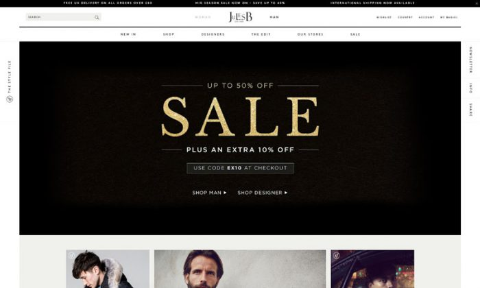 Website promoting a sale with a black and gold banner