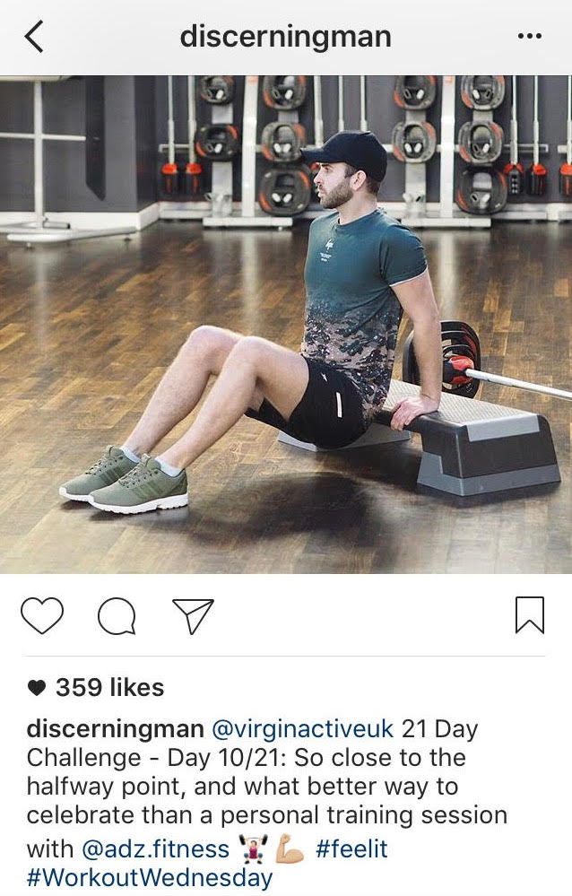 Instagram post of man working out