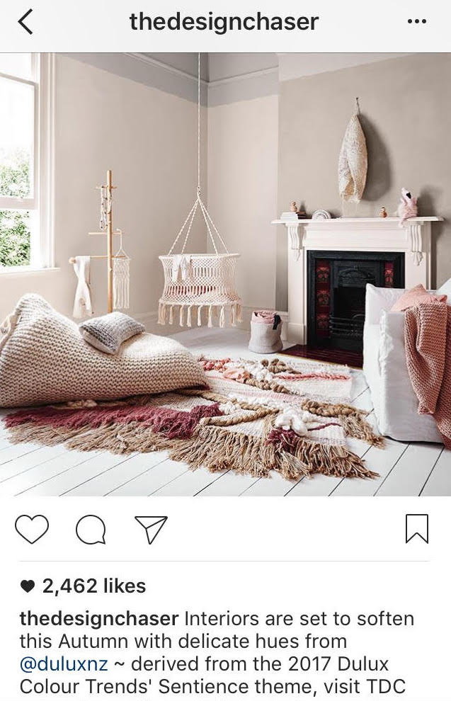 Instagram post of boho inspired living room