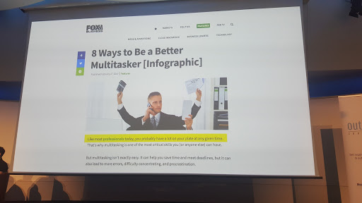 presentation screen '8 ways to be a better multitasker'