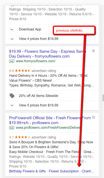 Google paid search result with an arrow highlighting old ad extensions